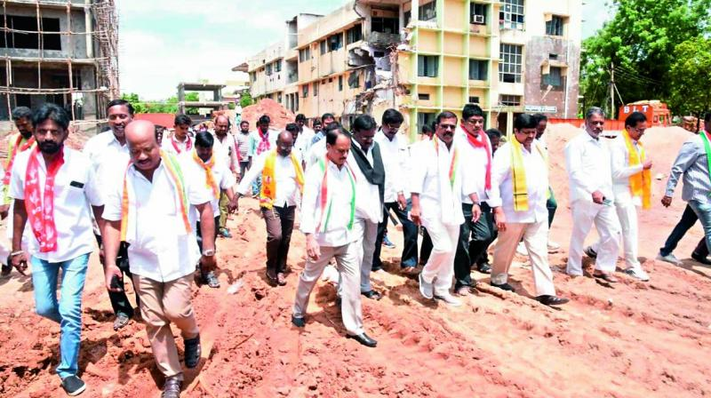 Leaders of all political parties at the construction site of the new collector's office complex in Warangal on Friday. (Photo: DC)