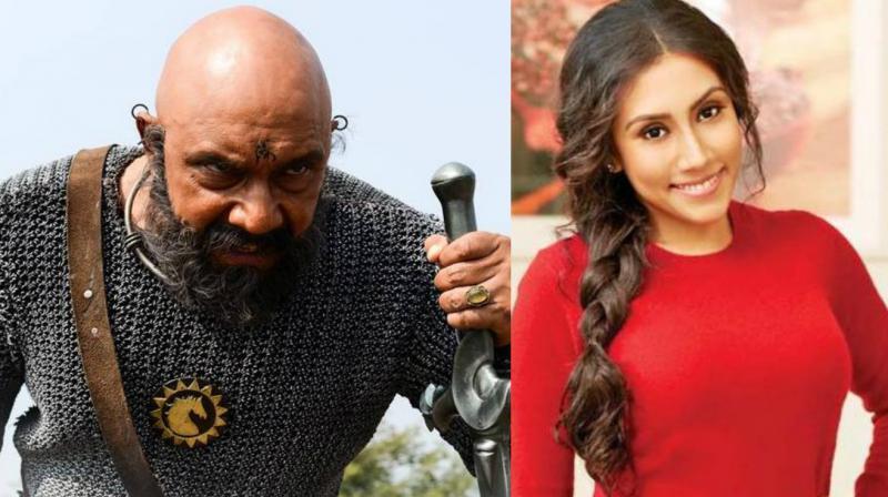 Divya Sathyaraj and her father Sathyaraj in 'Baahubali.'