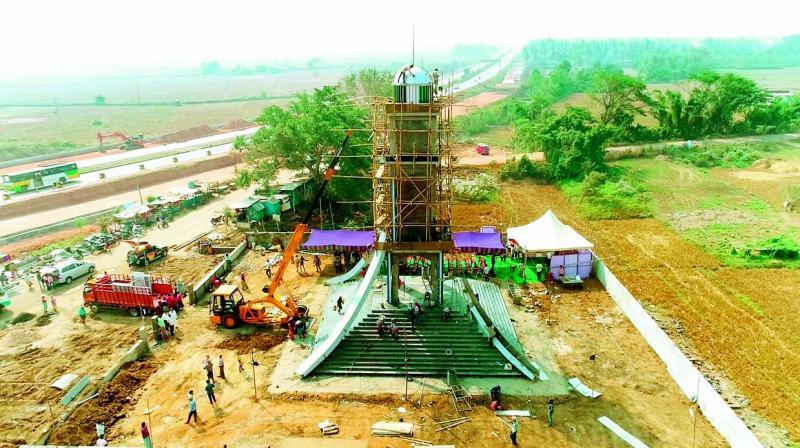 Huge Stupa construction as a symbol of Praja sankalpa Yatra at Ichapuram.