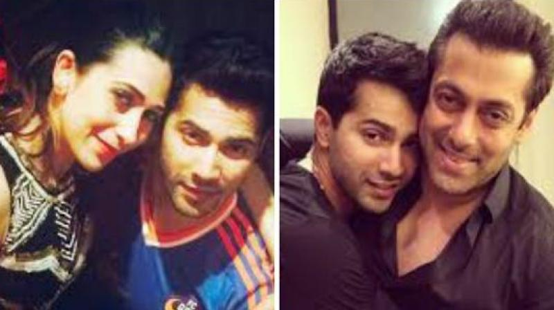 Varun Dhawan with Salman Khan and Karisma Kapoor.
