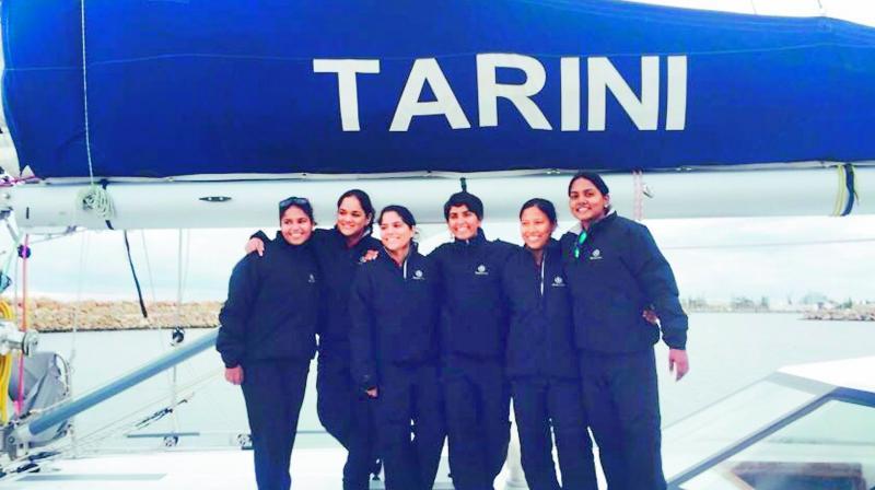 All women crew who were sailing all around the world on Navika Sagar Parikrama, Tarini, celebrate on entering Fremantle Port in Australia on Monday.