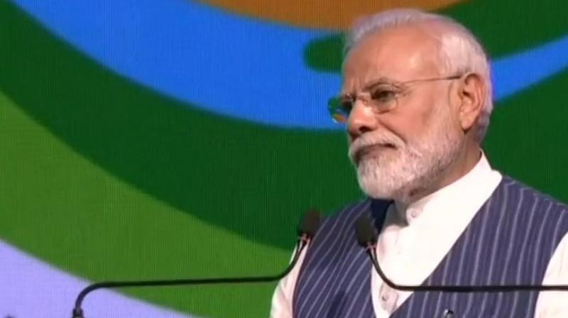 Modi was addressing 14th Conference of Parties (COP14) to United Nations Convention to Combat Desertification (UNCCD) in Greater Noida, UP. (Photo: ANI)