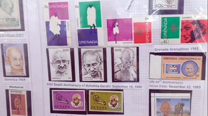 Different stamps with the theme of Mahatma Gandhi at the ThrissurPex in Thrissur. (Photo: DC)