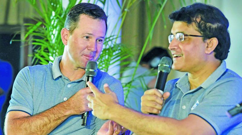 Delhi Capitals coach Ricky Ponting and team advisor Sourav Ganguly during a media interaction in New Delhi. (Photo: PTI)