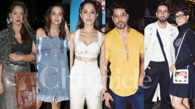 On Wednesday, Bollywood and TV celebs like Saqib Saleem, Sanya Malhotra, Fatima Sana Shaikh, Gautam Gulati, Surveen Chawla and others came together to watch Ayushmann Khurrana and Nushrat Bharucha starrer 'Dream Girl' at the star-studded screening. (Photos: Viral Bhayani)