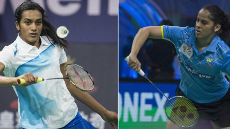 Both PV Sindhu and Saina Nehwal had made early exits in three successive tournaments at China, Korea and Denmark before somewhat regaining form with a quarterfinal finish at the French Open and the duo will be desperate to go deep in the draw. (Photo: AFP/PTI)