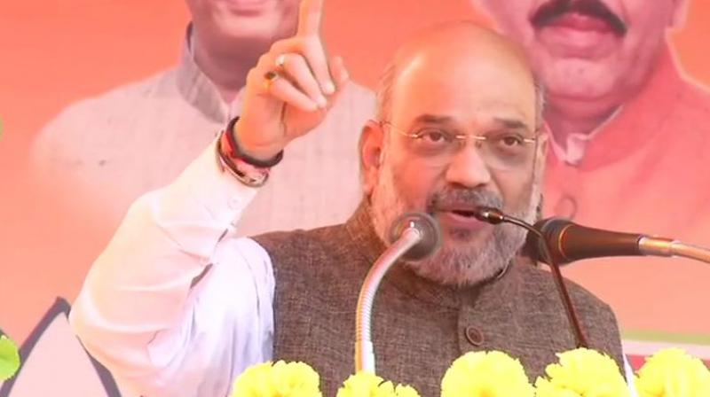 'It is the BJP government that has built Ambedkar ji's memorial in five years', Amit Shah said. (Image: ANI twitter)