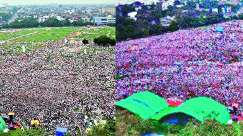 RJD chief Lalu Prasad Yadav slammed for tweeting a morphed image (above) of the Patna rally claiming a higher people turnout than the actual number (left). (Photo via web)