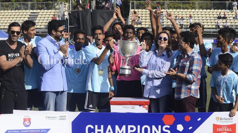 John Abraham, Abhishek Bachchan, Sachin Tendulkar and Neeta Ambani were seen felicitating the winners of a football competition for youngsters in Mumbai on Saturday. (Photo: Viral Bhayani)