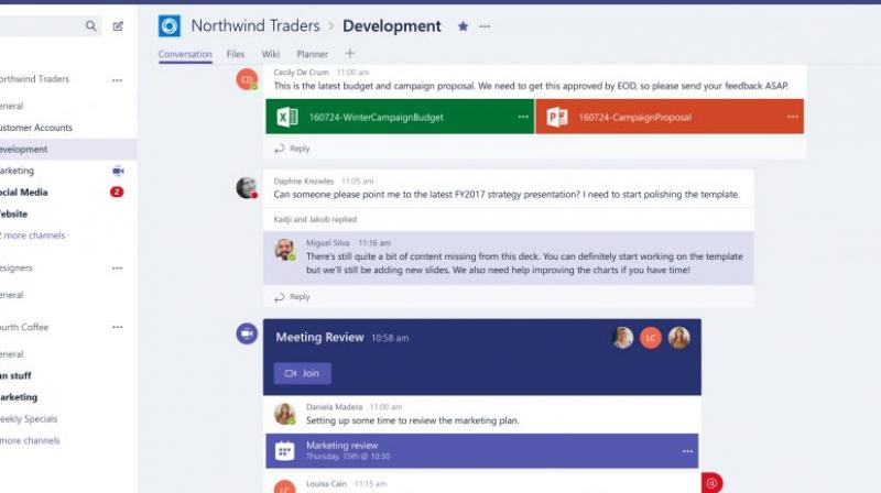 Teams allows users to chat, share files, make calls and hold web video conferences.