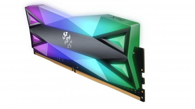 The XPG SPECTRIX D60G DDR4 memory features a unique dual RGB light diffuser design that gives it the largest RGB surface area of any memory module!
