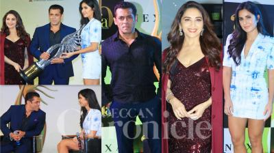 On Thursday, Salman Khan, Madhuri Dixit-Nene and Katrina Kaif attended a press conference of 20th edition of the NEXA IIFA Awards. The stars were looking glamourous and had a lot of fun at the prestigious event that took place in Mumbai. (Photos: Viral Bhayani)