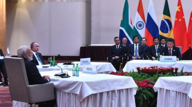 Chinese President Xi Jinping appreciated India's strong resolve against terrorism and momentum in BRICS. (Photo: MEA Twitter)