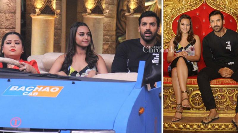 John Abraham and Sonakshi Sinha promoted their film 'Force 2' on the television show 'Comedy Nights Bachao' on Monday. (Photo: Viral Bhayani)