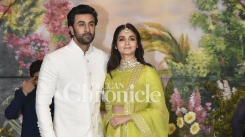 Alia Bhatt and Ranbir Kapoor at Sonam Kapoor Ahuja wedding reception.