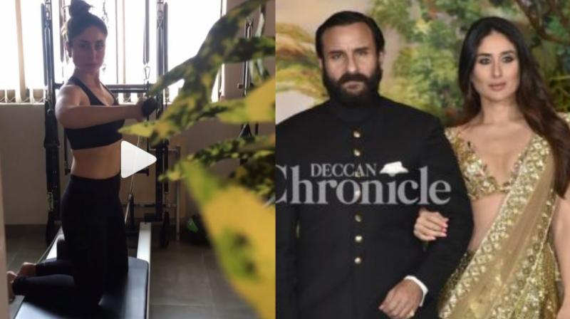 A screenshot from Kareena Kapoor Khan's video, actress with her husband at Sonam Kapoor Ahuja wedding reception.