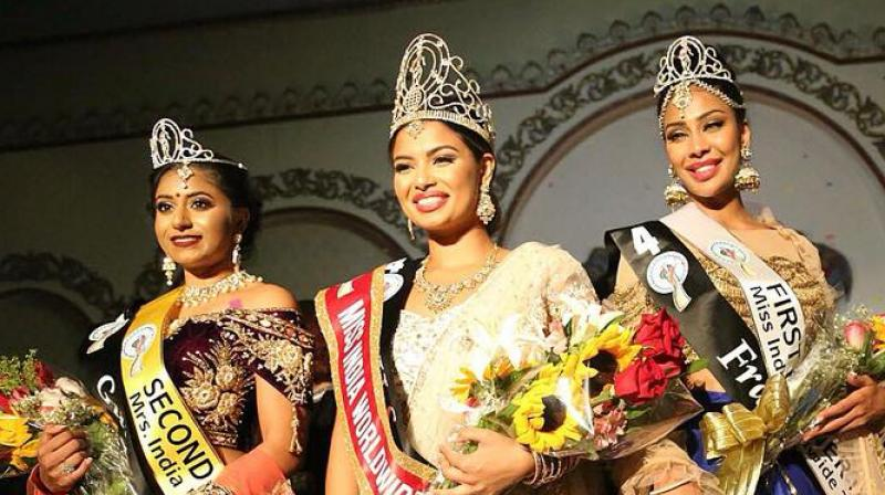 Madhu Valli (centre) after winning the title. The beauty pageant attracts people of Indian origin from across the world. (Photo: Facebook/ Madhu Valli)