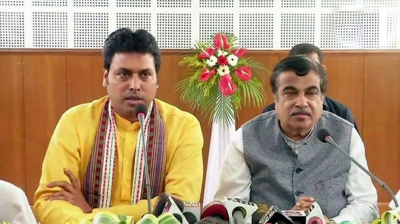 After the announcement, Biplab Kumar Deb (L) said, 'Jishnu Deb Burman will work with me as the deputy CM of Tripura.'(Photo: Twitter | ANI)