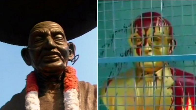 A statue of Mahatma Gandhi was defaced by an unidentified person in Kerala, while unidentified miscreants poured paint on the bust of Dr BR Ambedkar in Tiruvottiyur, Chennai. (Photo: Twitter | ANI)