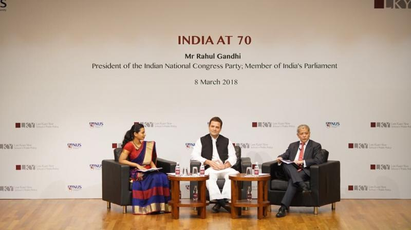 Speaking at a panel discussion at the prestigious Lee Kuan Yew School of Public Policy in Singapore, Rahul Gandhi also said that there is a challenge to the institutional structure of India. (Photo: Twitter | @OfficeOfRG)