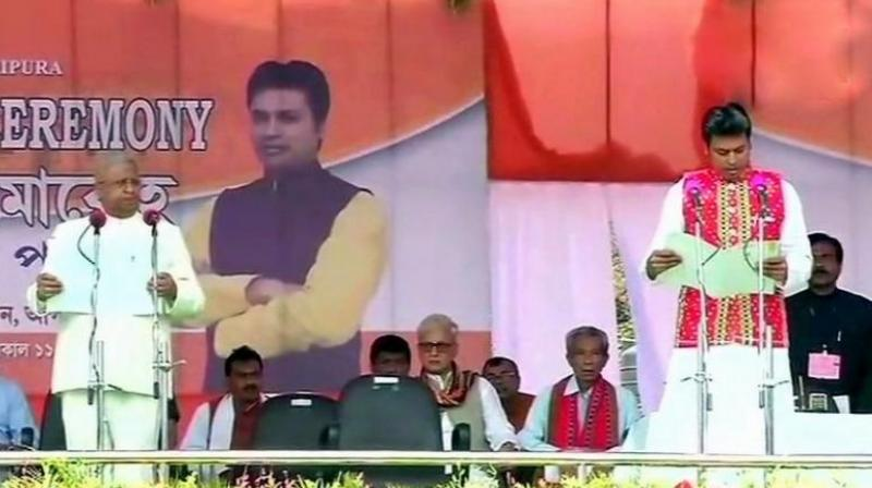 Biplab Deb, long-time RSS volunteer and Tripura BJP president took oath as the chief minister of the northeastern state on Friday at a grand ceremony. (Photo: ANI)