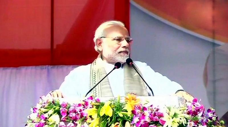 'I appeal to the people of Tripura, lets take the state to a new height so that we can change the lives of people. I want to assure that in Tripura's march towards development, the central government will provide full cooperation with the motto of cooperative federalism,' PM Modi said. (Photo: ANI   Twitter)