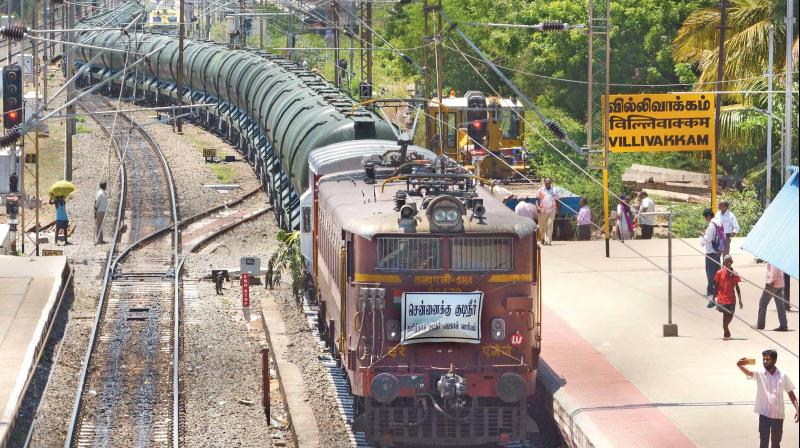 The water train, carrying 2.5 million litres of water  from Jolarpet, arrives at the filling station at the Integral Coach Factory Yard in Villivakkam on Friday.(Photo: DC)