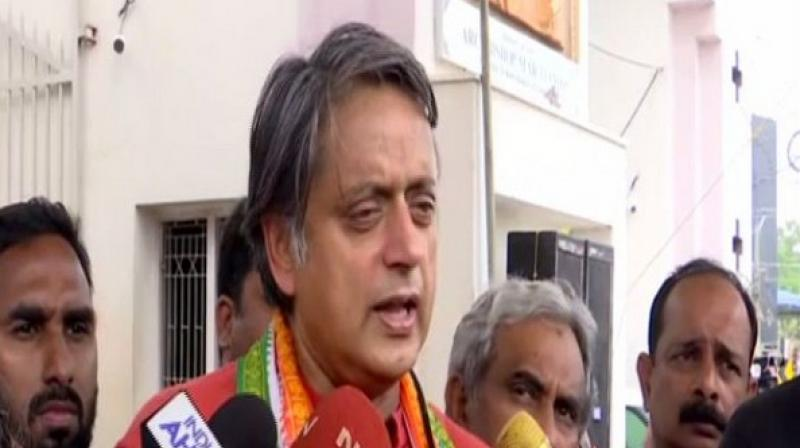 'I am 100 per cent sure that whatever the results may be, the BJP is not going to score as high as the exit polls suggest,' Shashi Tharoor said. (Photo: ANI)