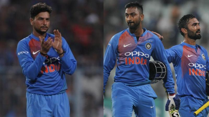 Kuldeep Yadav scalped three wickets while all-rounder Krunal Pandya made a memorable debut as he and Dinesh Karthik helped India cross the finish line in the first Twenty20 against West Indies in Kolkata. (Photo: BCCI)