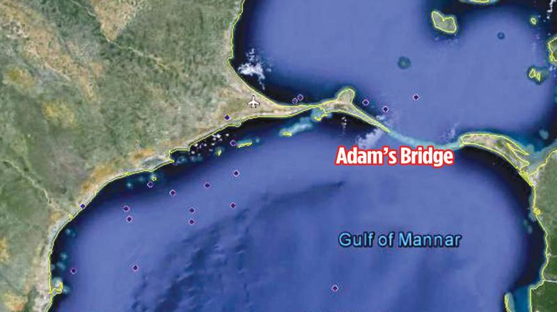 The bridge which is submerged in the water is roughly 100 meters wide and up to 10 metres in depth.