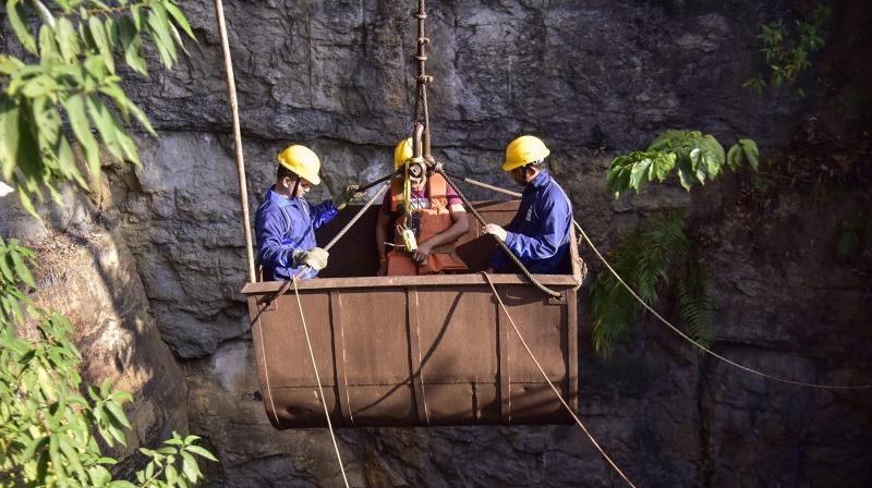 Fifteen miners remain trapped inside a illegal 'rat-hole' coal mine in Lumthari village of East Jaintia Hills district since December 13 after water from a nearby river gushed in. (Photo: PTI | File)