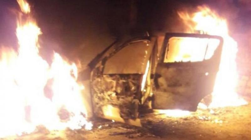 The speeding car crashed into a tree following which the engine of the four-wheeler caught fire and engulfed the entire vehicle. (Representational Image)