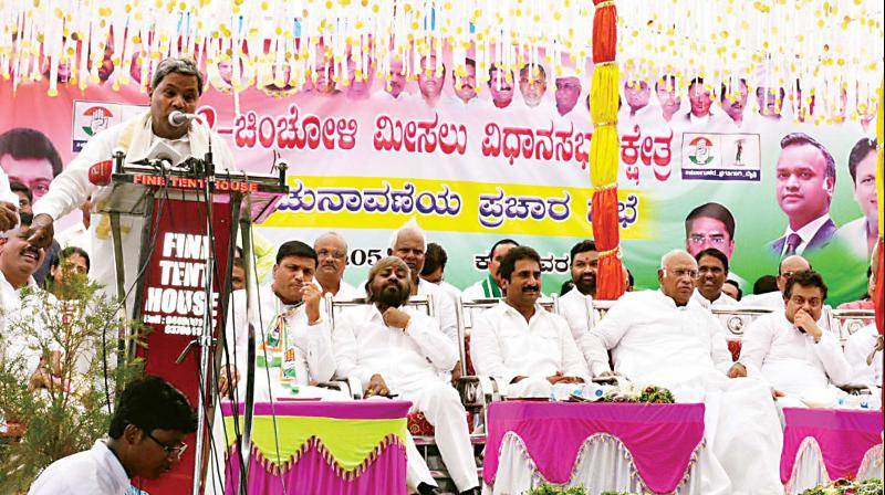 Senior Congress leader Siddaramaiah at an election rally in Chincholi on Friday  (Photo: KPN)