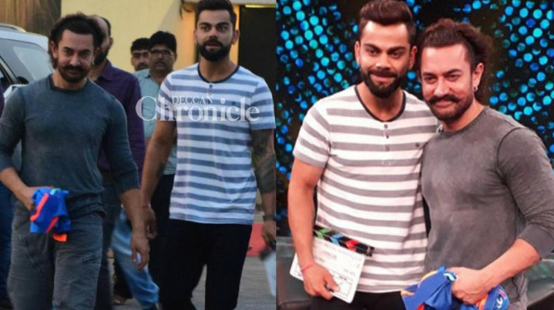 Superstars in their respective fields, Aamir Khan and Virat Kohli shot for a special Diwali special TV show in Mumbai on Tuesday. (Photo: Viral Bhayani/ Twitter)