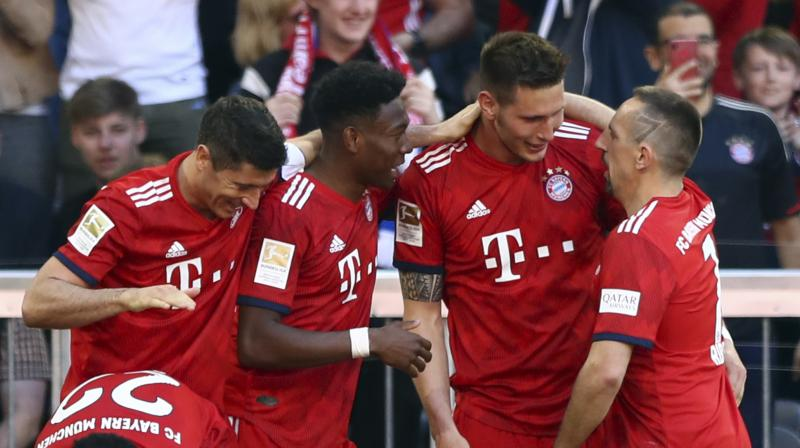 Bayern finally broke the deadlock when defender Suele shot from the edge of the box, the ball taking a slight deflection to beat Pavlenka. (Photo: AP)