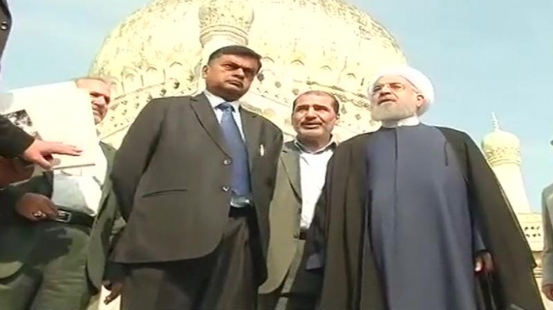 Iranian President Dr Hassan Rouhani visits Qutub Shahi tombs in Hyderabad. (Photo: PTI)(Photo: PTI)