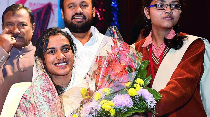 P.V. Sindhu at a felicitation event in New Delhi on Tuesday (Photo:AP)