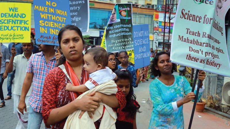 Participants during the 'March For Science' rally in Kochi on Saturday. (Photo: DC)