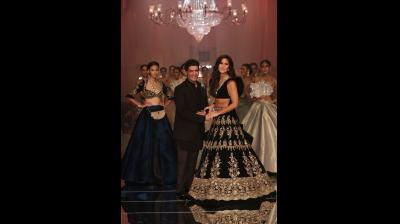 Katrina Kaif was the showstopper for Manish Malhotra's ramp collection. She wore a magnificent black lehenga with Manish Malhotra's signature blouse. (Photo: File)