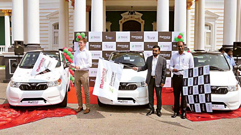 Mysuru deputy commissioner D. Randeep launches the self-drive electric cars in the Heritage City on Tuesday.