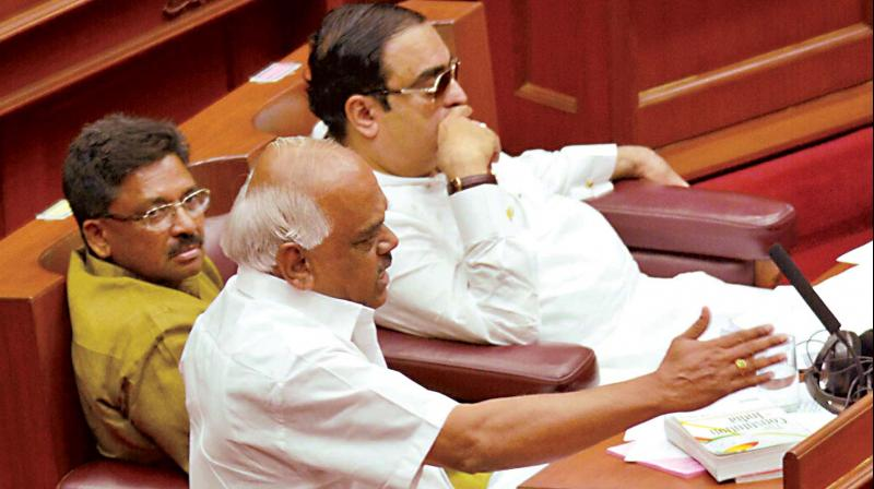 Health minister Ramesh Kumar speaks in the Legislative Council during the ongoing winter session in Belagavi on Tuesday.