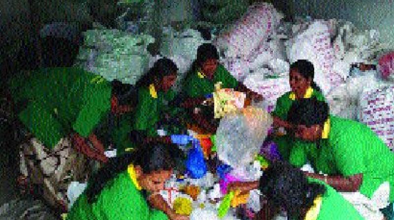 Green task force members segregating plastic waste at material felicitation centre at Chottanikkar. (Photo: DC)