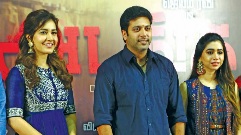 Raashi, Jayam Ravi with wife Aarthi