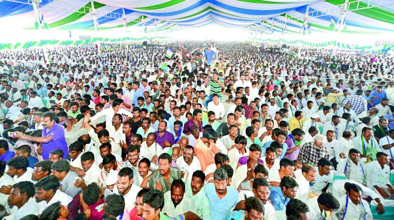 Huge crowd attend for day 1 of YSRC plenary meeting, near Acharya Nagarjuna University, Guntur on Saturday. (Photo: DC)