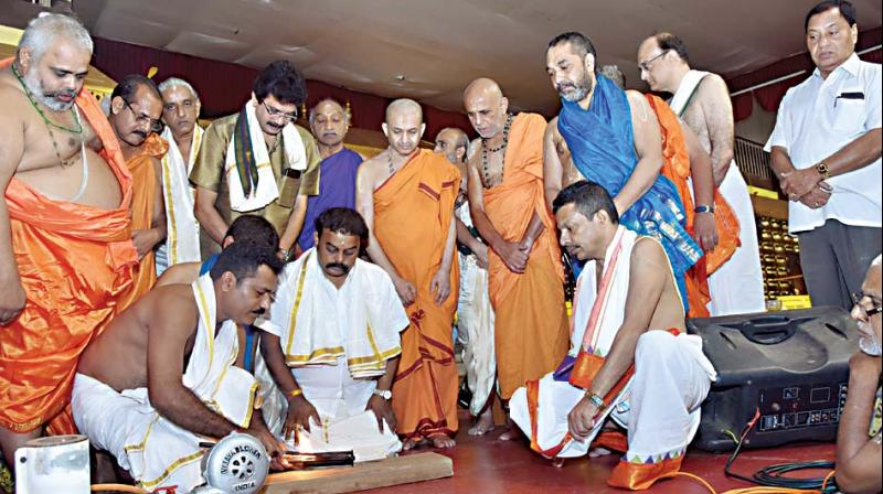The work for the Suvarna Gopura (gold plated roof) project was initiated at a function held at 'Rajangana,' on Wednesday —DC