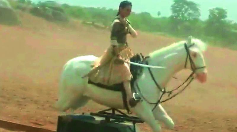 The wooden hero: Actor Kangana Ranaut during a war scene in the film Manikarnika: The Queen of Jhansi. This video created huge uproar on social media sites.