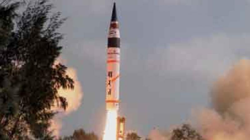 Last month, Agni-V was successfully test-fired off the Odisha coast and sources said a number of other pre-induction tests are being planned in the next few weeks. (Photo: File/PTI)