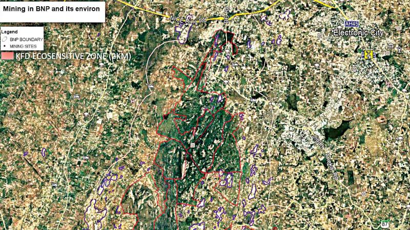 A satellite image of the mining taking place in the eco-sensitive zone of BNP sent by IISc lead scientist Dr T.V. Ramachandra to Deccan Chronicle