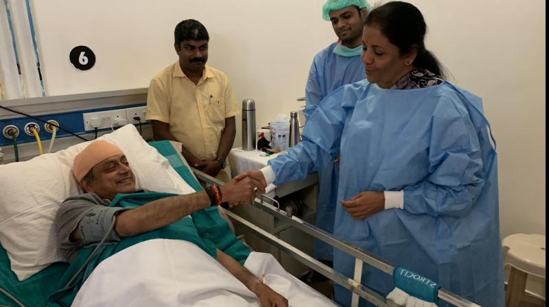 'Touched by the gesture of Nirmala Sitharaman, who dropped by today morning to visit me in the hospital, amid her hectic electioneering in Kerala,' (Photo: Twitter)