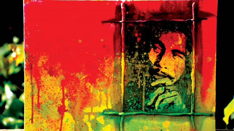 Bob Marley inspired canvas painting